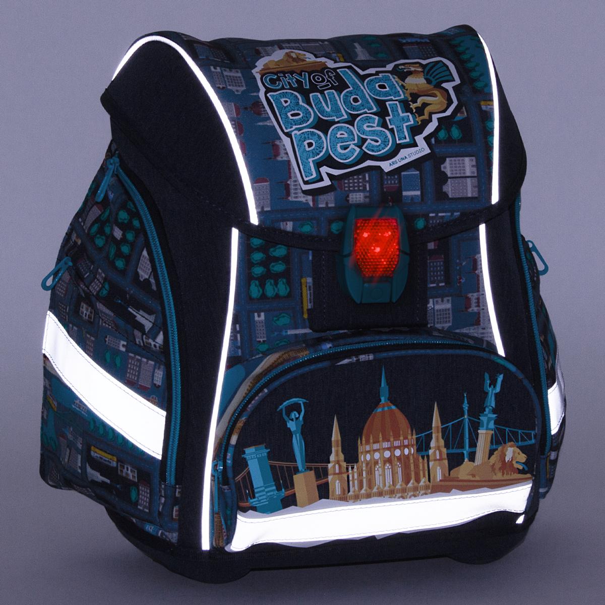 Ars Una City of Budapest ergonomikus iskolatáska világító